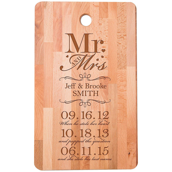 "Personalized bamboo Cutting Board Mr and Mrs When he stole her Heart for bride and groom Wedding Anniversary Gift Ideas for Him, Her, Couples Established Dates to Remember 11""w x 18""h"