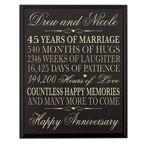 Personalized 45th Anniversary Wall Plaque Gift