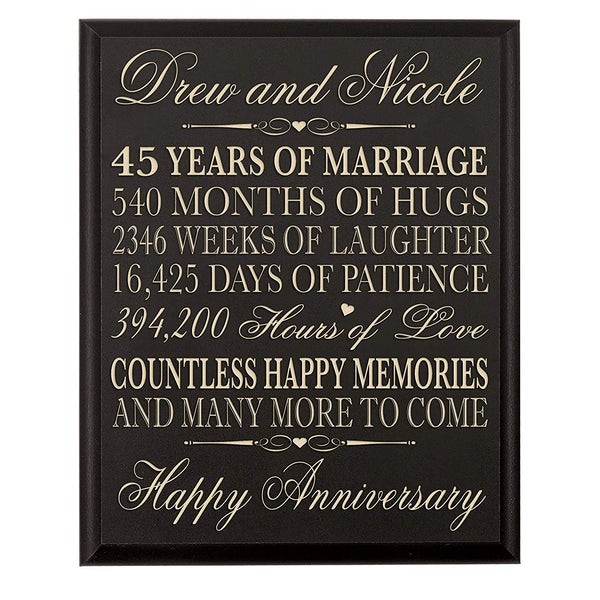 LifeSong Milestones Personalized 45th Wedding Anniversary Gift for Couple, Custom Made 45th Anniversary Gifts for Her,45th Wedding Anniversary Gifts for Him 12 Inches Wx 16 Inches H