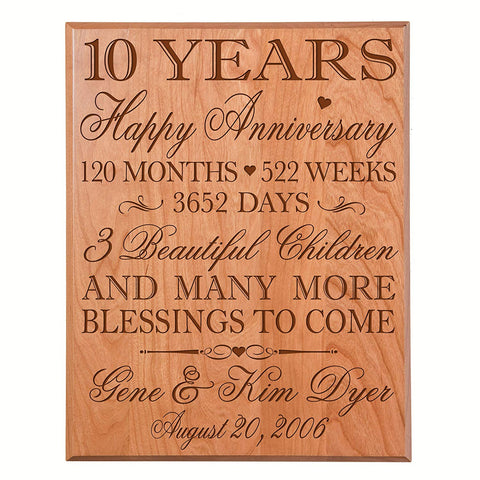 Personalized 10th Anniversary Wall Plaque - Happy Anniversary Cherry Solid