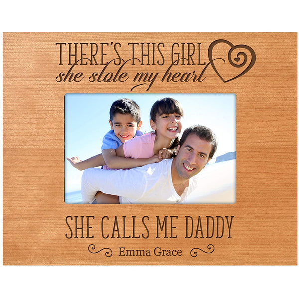 LifeSong Milestones Personalized Gifts for Dad Fathers day gift Custom picture frame There's This Girl she stole my heart and he calls me Daddy