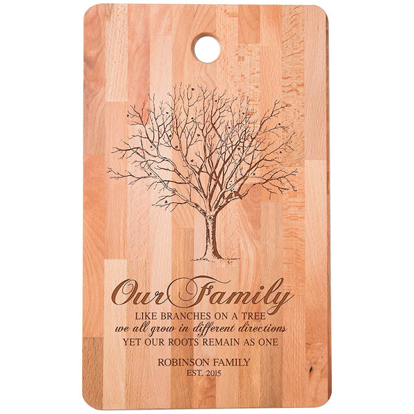 "Personalized bamboo Cutting Board reads Our Family Like Branches on a Tree for bride and groom Wedding Anniversary Gift Ideas for Him, Her, Couples Established Dates to Remember 11""w x 18""h"