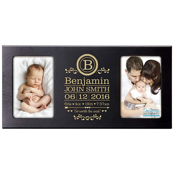 Personalized New Baby birth announcement monogram picture frame for newborn boys and girls Custom engraved photo frame for new mom and dad parents and grandparents holds 2 4x6 photos