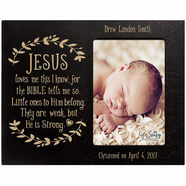 Personalized Baptized Photo Frame - Jesus Loves Me black