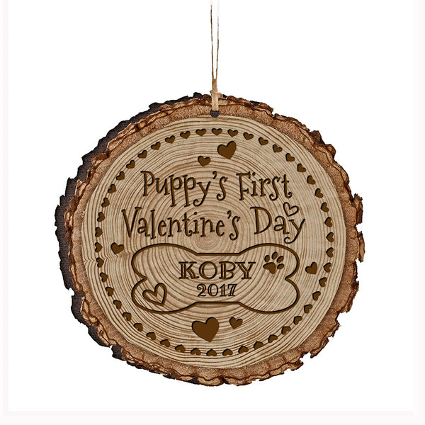 Personalized Wooden Ornament - Puppy's 1st Valentine's Day