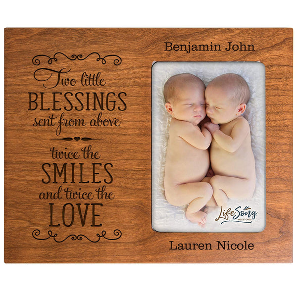 Personalized New baby gifts for twins picture frame for boys and girls Custom engraved photo frame for new parents nana,mimi and grandparents (Cherry)