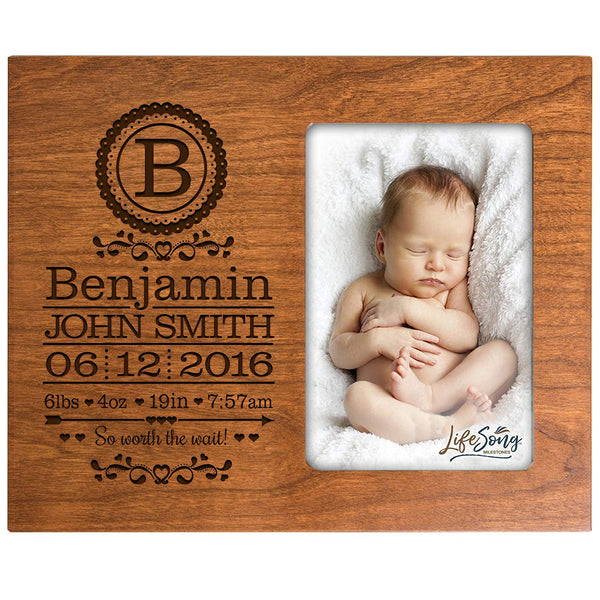 Personalized New Baby birth announcement monogram picture frame for newborn boys and girls Custom engraved photo frame for new mom and dad parents and grandparents