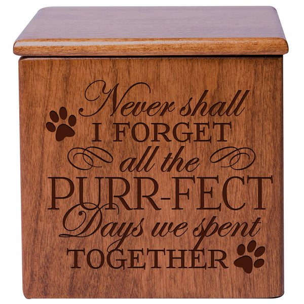 Cremation Urn/Memorial Keepsake Box for Cats – Never Shall I Forget