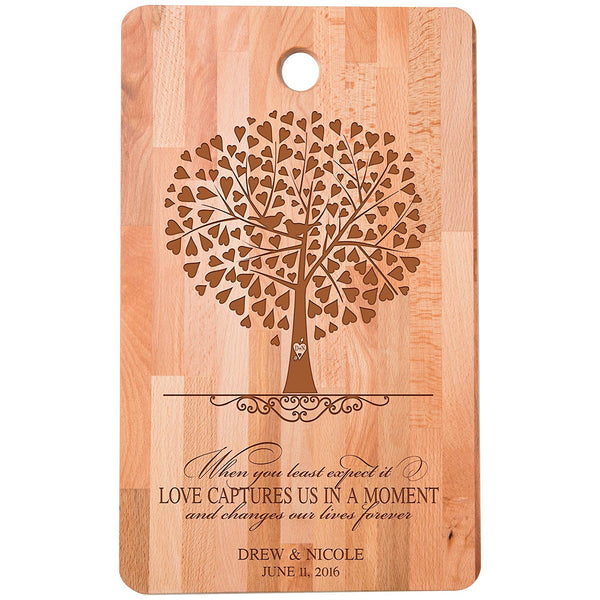 "Personalized bamboo Cutting Board reads Love captures us in a Moment for bride and groom Wedding Anniversary Gift Ideas for Him, Her, Couples Established Dates to Remember 11""w x 18""h"