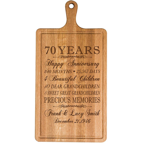 Personalized 70th Anniversary Cutting Board