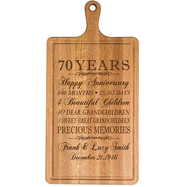 Personalized 70th Year Anniversary Gift for Him Her wife husband Couple Cheese Cutting Board Customized with Year Established dates to remember for Wedding Gift ideas by LifeSong Milestones