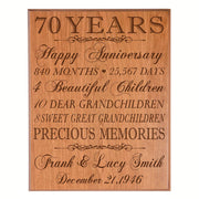 Personalized 70th Anniversary Wall Plaque - Precious Memories Cherry Veneer