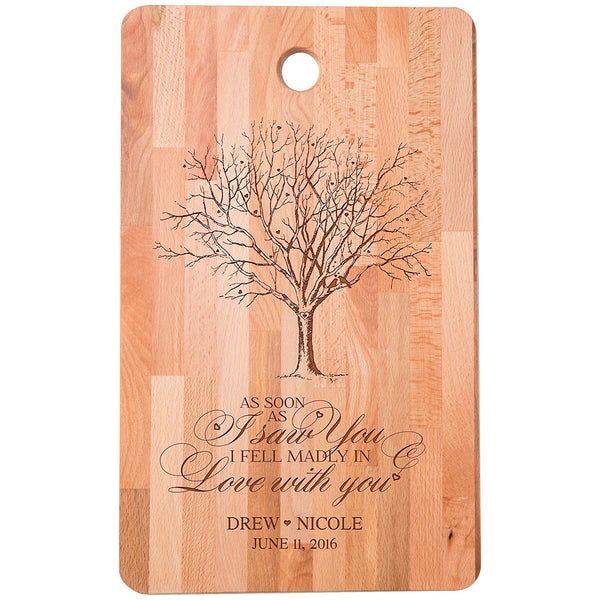 "Personalized bamboo Cutting Board reads As soon as I Saw You I Fell Madly in Love for bride and groom Wedding Anniversary Gift Ideas for Him, Her, Couples Established Dates to Remember 11""w x 18""h"