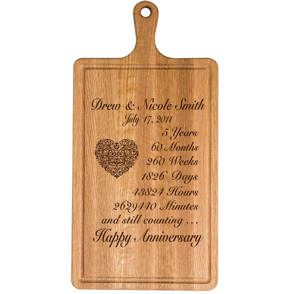 Personalized 5th Year Anniversary Gift for Him Her wife husband Couple Cheese Cutting Board Customized with Year Established dates to remember for Wedding Gift ideas by LifeSong Milestones