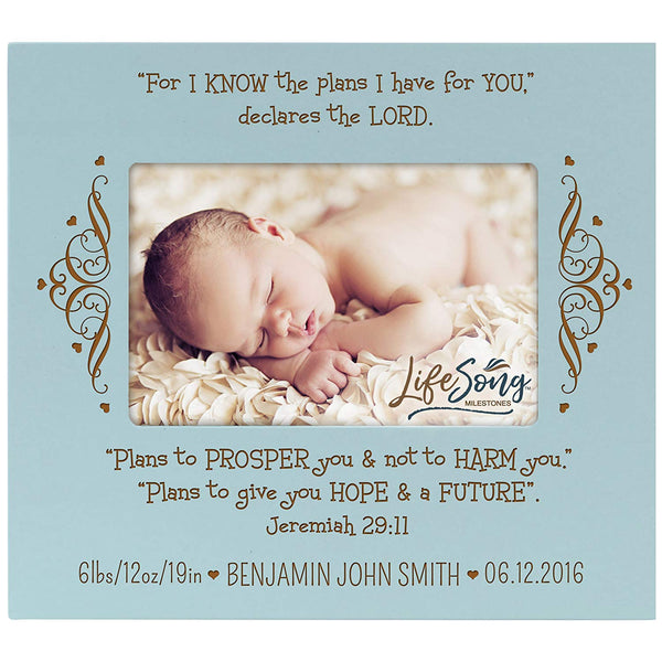 Personalized New Baby Photo Frame - For I Know The Plans Blue