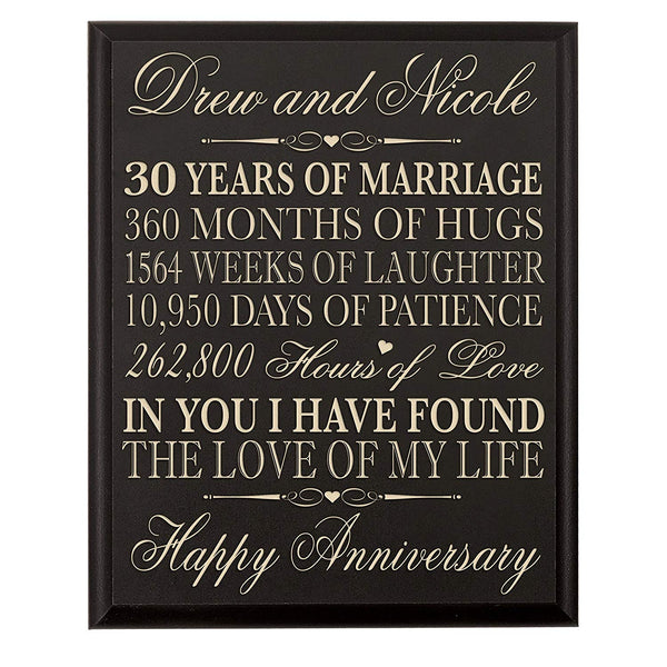 LifeSong Milestones Personalized 30th Wedding Anniversary Gift for Couple, Custom Made 12 Inches Wx 16 Inches H