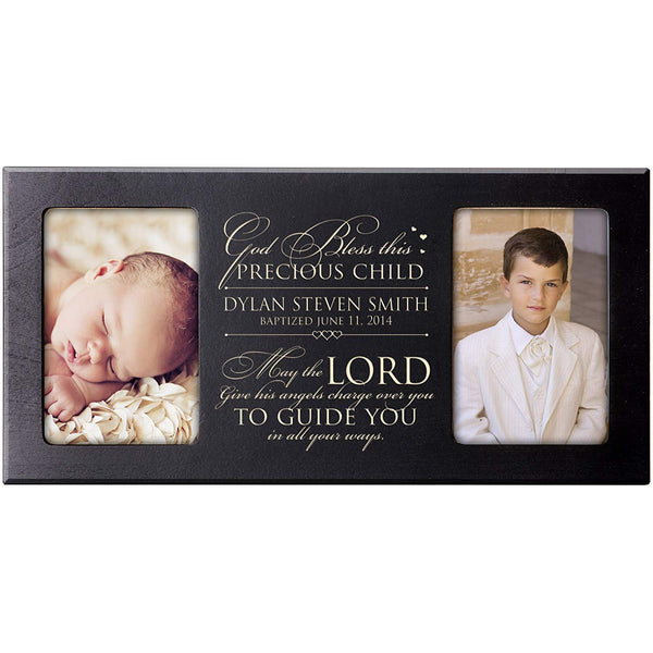 Personalized 1st Holy Communion or Baptism Photo Frame - God Bless This Precious Child (Cherry)
