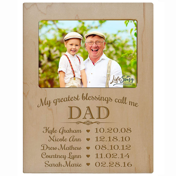 Personalized Gift for Dad Picture Frame with children's names and kid's birth date special dates My Greatest blessings call me Dad holds 4x6 photo by LifeSong Milestones