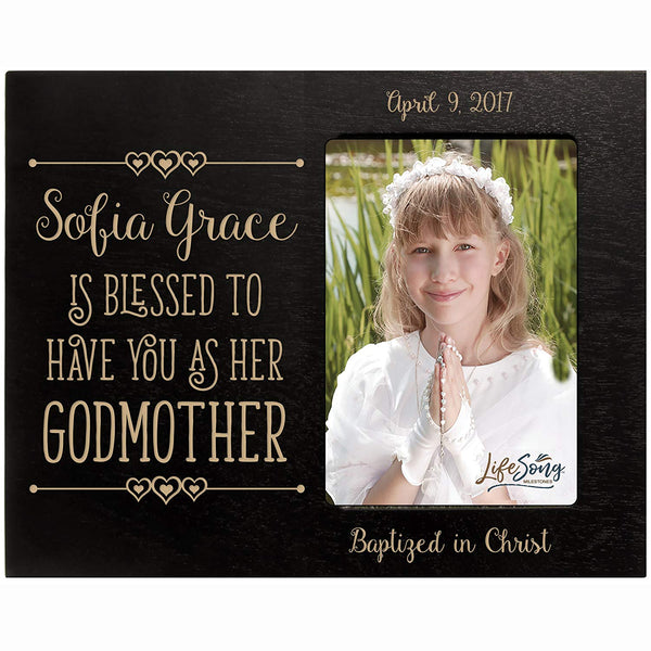 Personalized Godmother Gifts Custom engraved Godparent gifts from Godchild Baptism Photo Frame Blessed to have you has a Godmother holds 4x6 photo by LifeSong Milestones