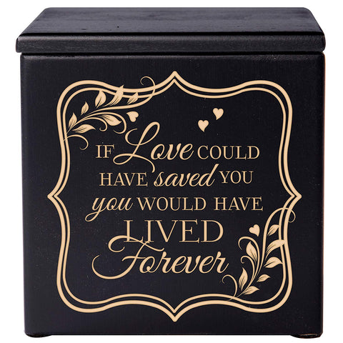 Wooden Cremation Urn Box If Love holds 17 cu in of Human Ashes