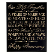 five year gift fifth year 5th for couple wall plaque wall decor