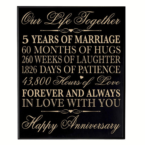 "5th Wedding Anniversary Wall Plaque Gifts for Couple, 5th Anniversary Gifts for Her,5th Wedding Anniversary Gifts for Him 10.75"" W X 13"" H Wall Plaque By LifeSong Milestones"