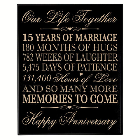 fifteen year gift fifteenth year 15th for couple wall plaque wall decor
