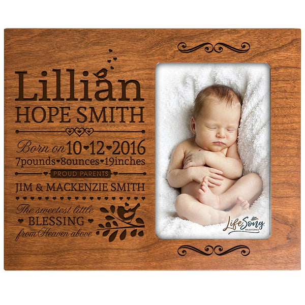 Personalized New Baby Engraved Cherry Photo Frame - Sweetest Little Blessing