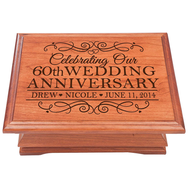 60th Wedding Anniversary Wooden Jewelry Box - Personalized