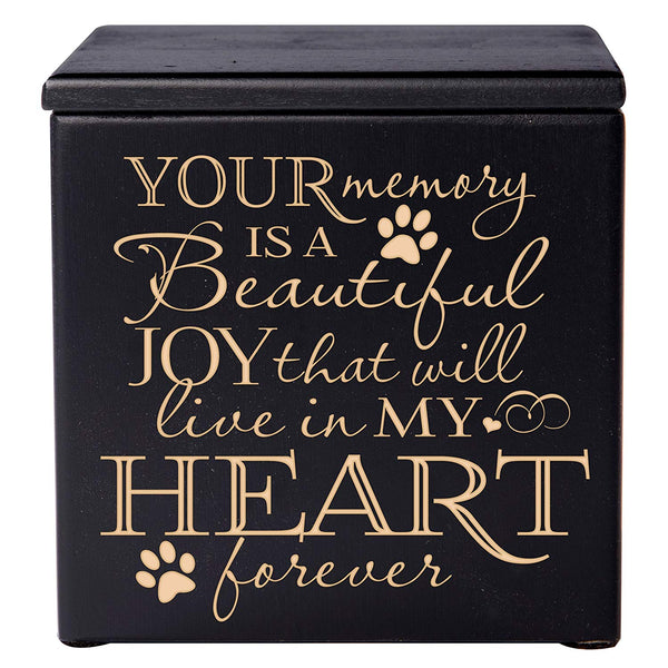 Cremation Urns for Pets Memorial Keepsake box for Dogs and Cats, Urn for pet ashes Your Memory is a beautiful Joy that will live in my heart forever by LifeSong Milestones