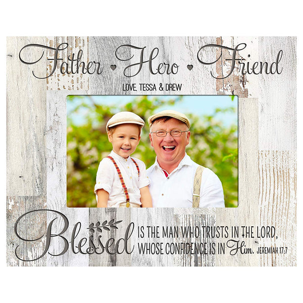Personalized Gifts for dad Engraved birthday gifts for dad Custom picture frame Blessed is the Man who Trusts in the Lord, Whose confidence is in him Jeremiah 17:7