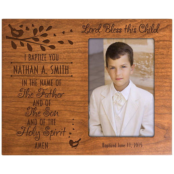 Personalized Baptism Photo Frame Custom Cherry Frame Holds 4x6 Photo Lord Bless this Child