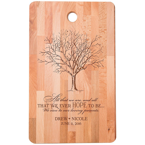 "Personalized bamboo Cutting Board reads All that we are We owe to our loving parents for bride and groom Wedding Anniversary Gift Ideas for Him, Her, Couples Established Dates to Remember 11""w x 18""h"