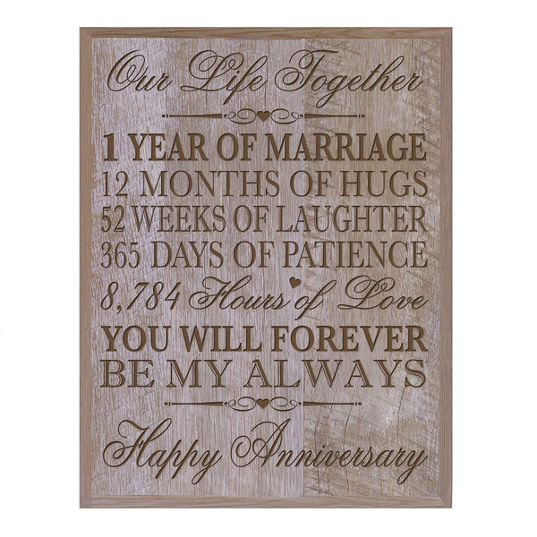 "LifeSong Milestones 1st Wedding Anniversary Wall Plaque Gifts for Couple, 1st Anniversary Gifts for Her,1st Wedding Anniversary Gifts for Him 12"" W X 15"" H Wall Plaque By"