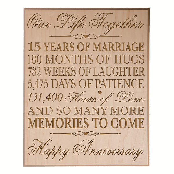 15th Wedding Anniversary Plaque