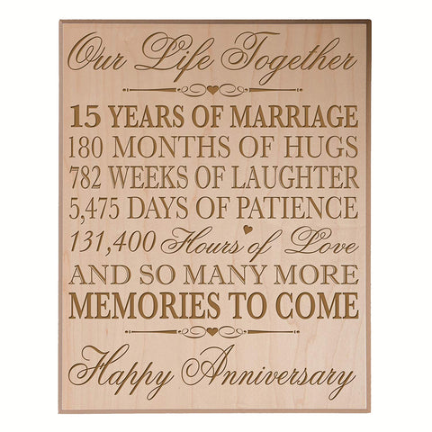 LifeSong Milestones 15th Wedding Anniversary Gift for Couple,custom 15th Anniversary Gifts for Her,15th Wedding Anniversary Gifts for Him Special Dates to Remember, By