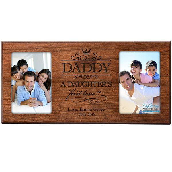 Personalized Gifts for Dad Fathers day gift Custom picture frame holds 2 4x6 photos