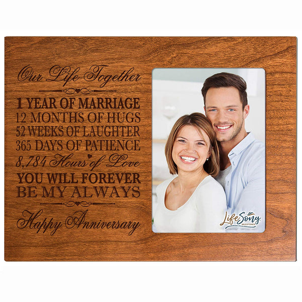 One year anniversary gift her him couple Custom Engraved 1st year wedding celebration for husband wife girlfriend boyfriend photo frame holds 4x6 photo by LifeSong Milestones