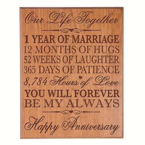 one year gift first year 1st for couple 12x15 wall plaque wall decor cherry