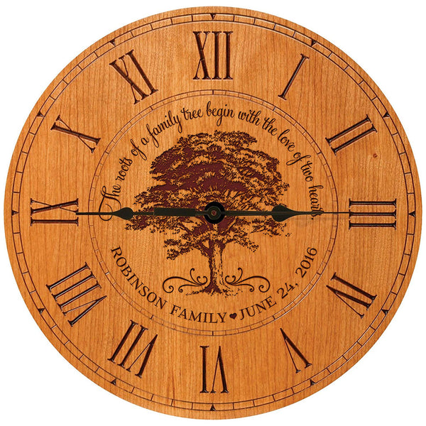 LifeSong Milestones Personalized Wedding Gifts for him her parents Modern Decorative desk wall Clocks Housewarming Custom engraved Our Family Like Branches on a tree