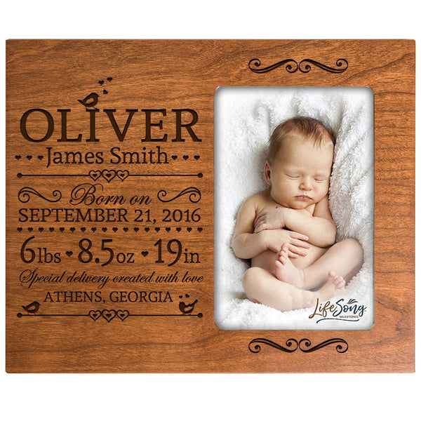 Personalized New Baby Engraved Cherry Photo Frame - Special Delivery