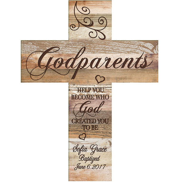 Personalized Godparents Gift Wall Cross - Light And Dark Distressed Help You Become Dark Distressed