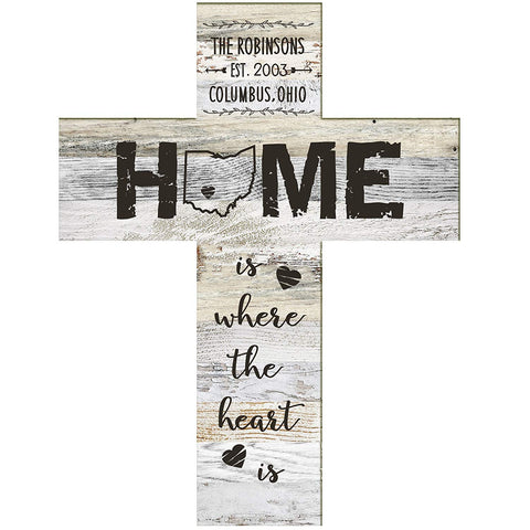 "LifeSong Milestones Personalized Engraved Decorative Cross - Home is where the heart is - 12""x16"""