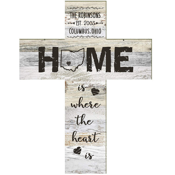 "Personalized Engraved Decorative Cross Home is where the heart is Family Established Cross with Last Name and Date Established by LifeSong Milestones 12""x16"""