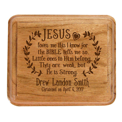 Personalized Baptism Jewelry Box - Jesus Loves Me