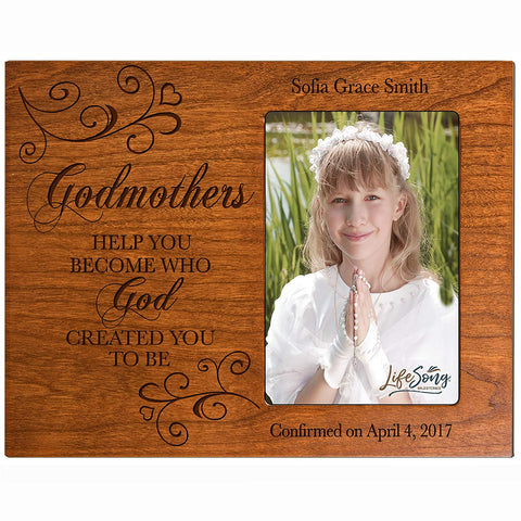 Godmother Gifts Personalized gifts from Godchild Custom engraved Godparent gift ideas for Baptism Confirmation Photo Frame holds 4x6 photo by LifeSong Milestones