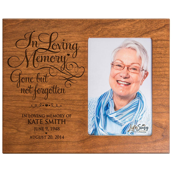 LifeSong Milestones Personalized Memorial Sympathy Picture Frame, In Loving Memory Gone But Not Forgotten, Custom Frame Holds 4x6 Photo, Made In USA by