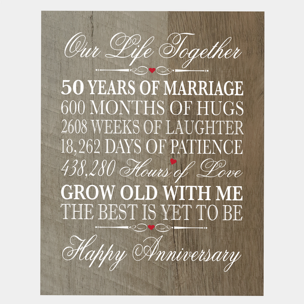 "LifeSong Milestones 50th Wedding Anniversary Gifts for her him husband wife Couple - 50 Year Wall Art Decorations for Living Room - Mr and Mrs Fifty Year Celebration Home Decor Plaque - 8"" x 10"""