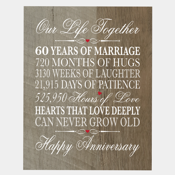 "LifeSong Milestones 60th Wedding Anniversary Gifts for her him husband wife Couple - 60 Year Wall Art Decorations for Living Room - Mr and Mrs Sixty Year Celebration Home Decor Plaque - 8"" x 10"""