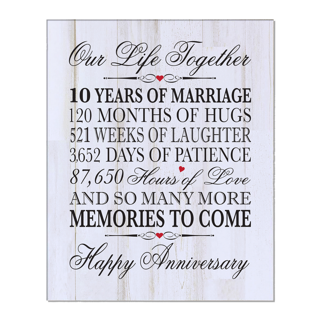 Tenth Anniversary Gift Ideas For Him Her Couple Wall Plaque Lifesong Milestones